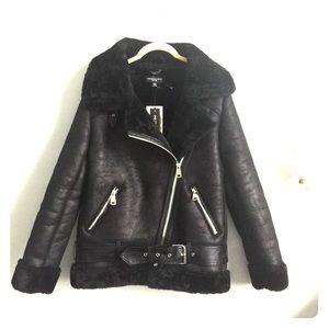 4ecc7758cd2f Vegan Leather Shearling Moto Jacket SMALL
